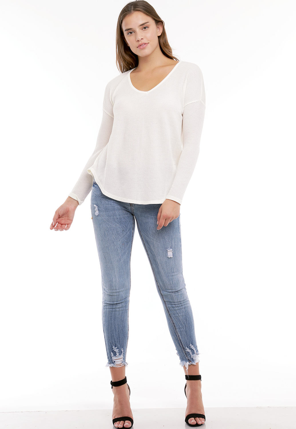 V-Neck Long Sleeve Knit Top