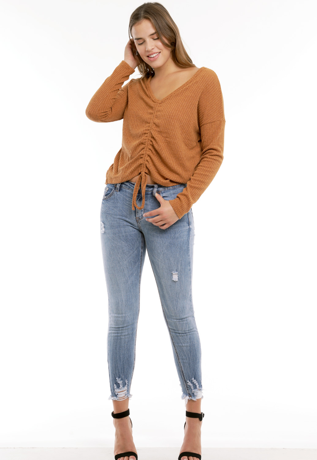 Front Ruched Knit Top