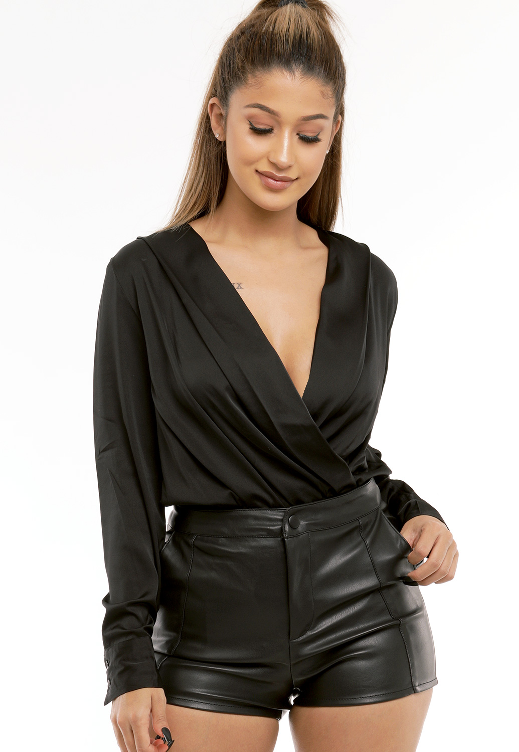 Satin Long Sleeve Bodysuit