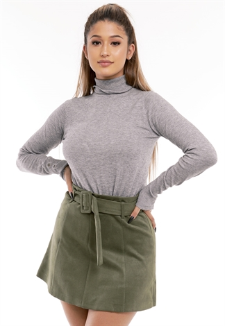 Button Detail Turtleneck Top