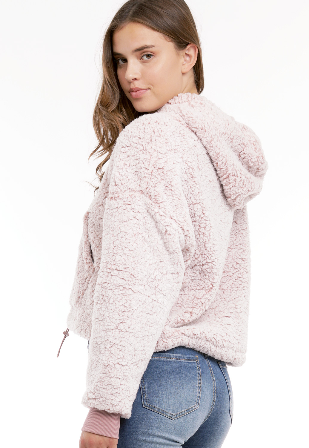 Half Zip Up Faux Shearling Sweater