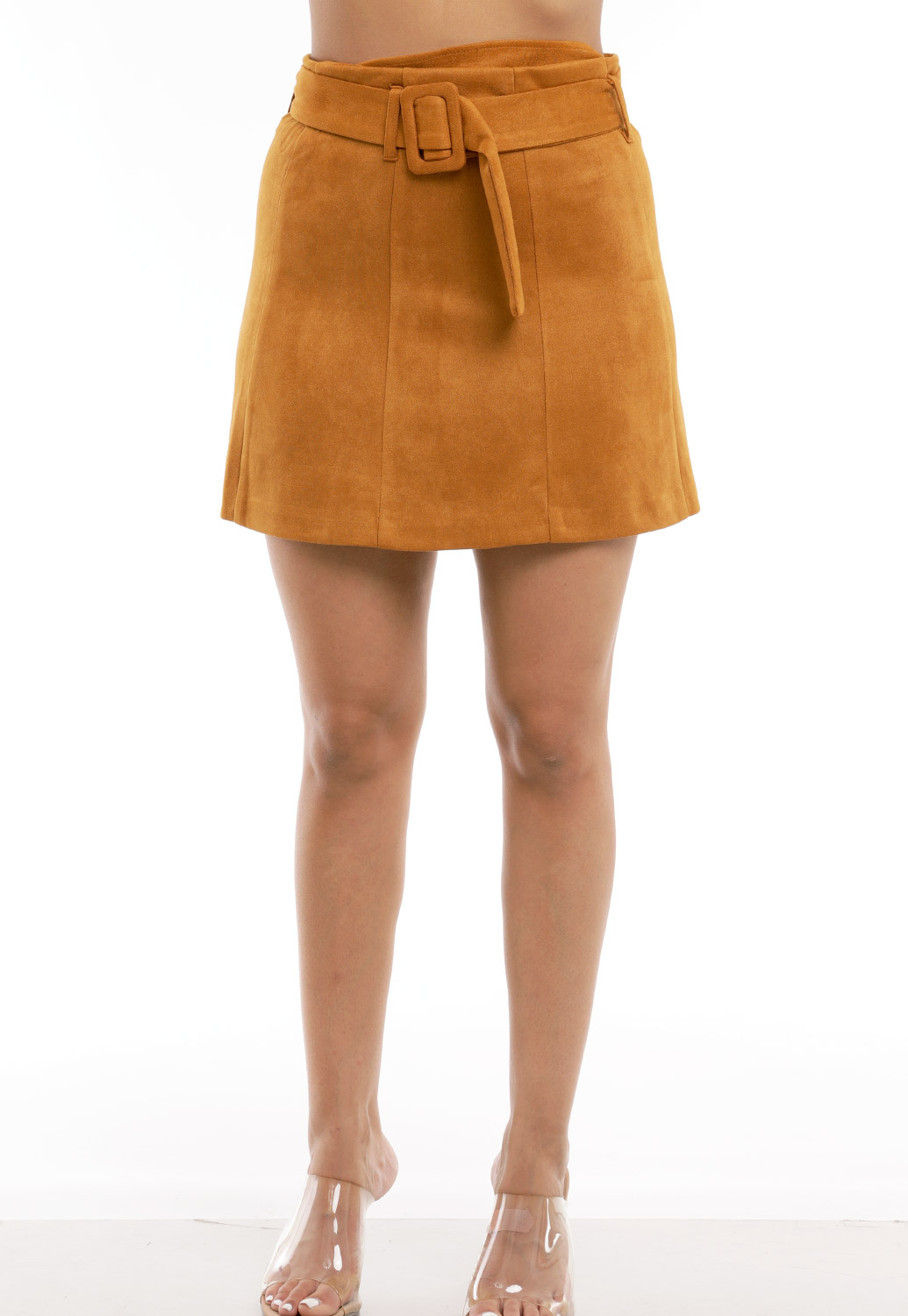 Suede Belted Detail Mini Skirt