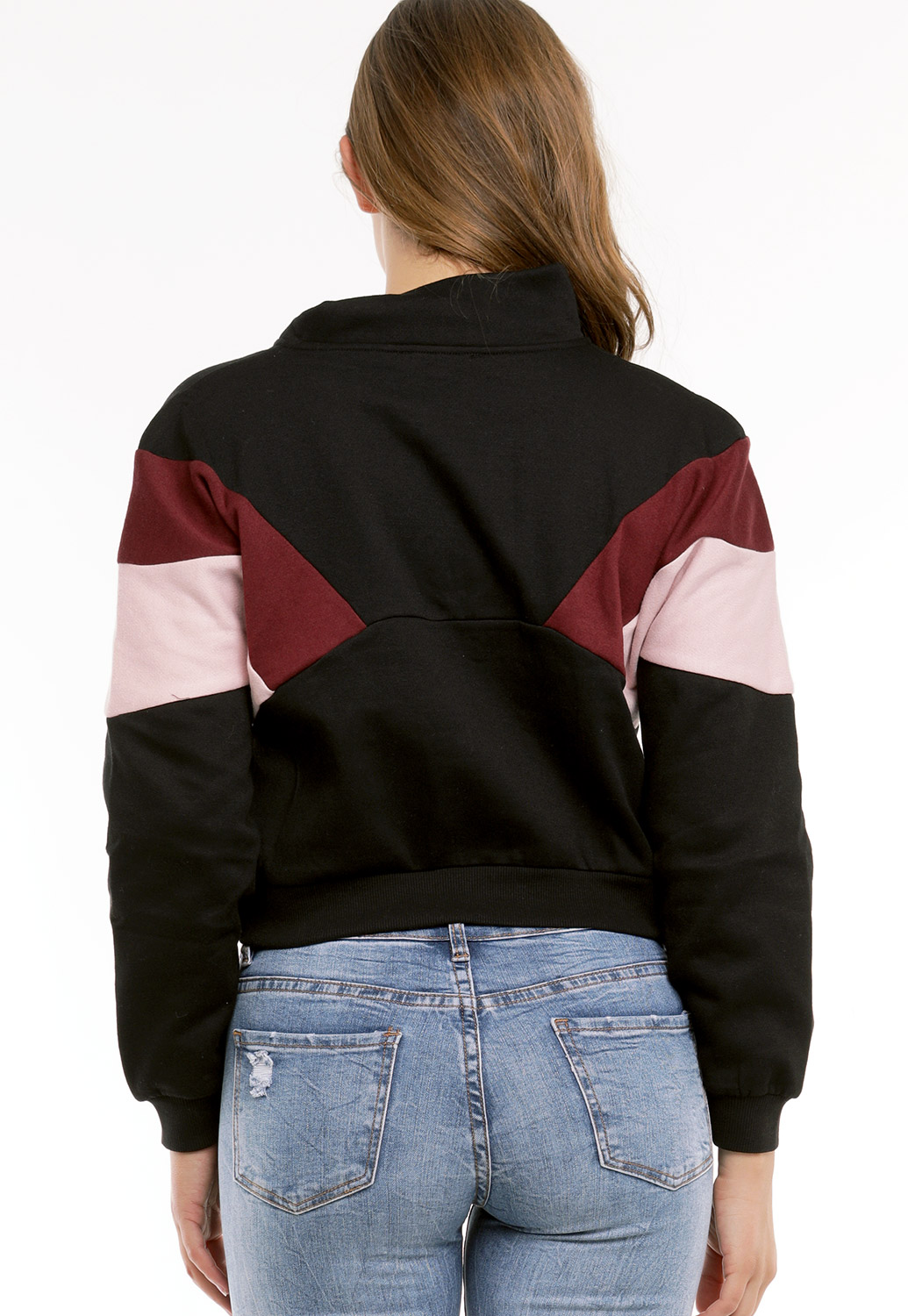 Colorblock Zip-Up Sweater