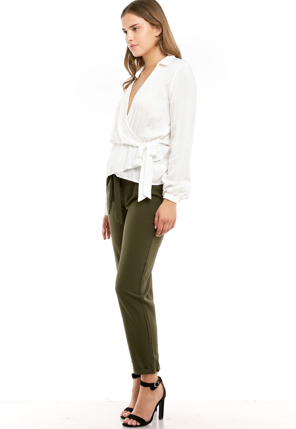 Tie Front High Waisted Dressy Pants