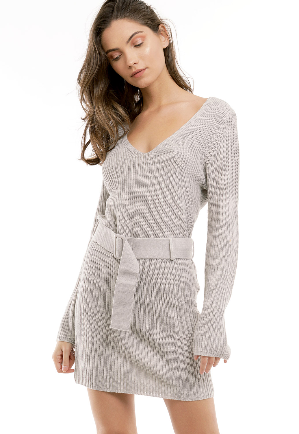 Tie Front Knit Mini Dress
