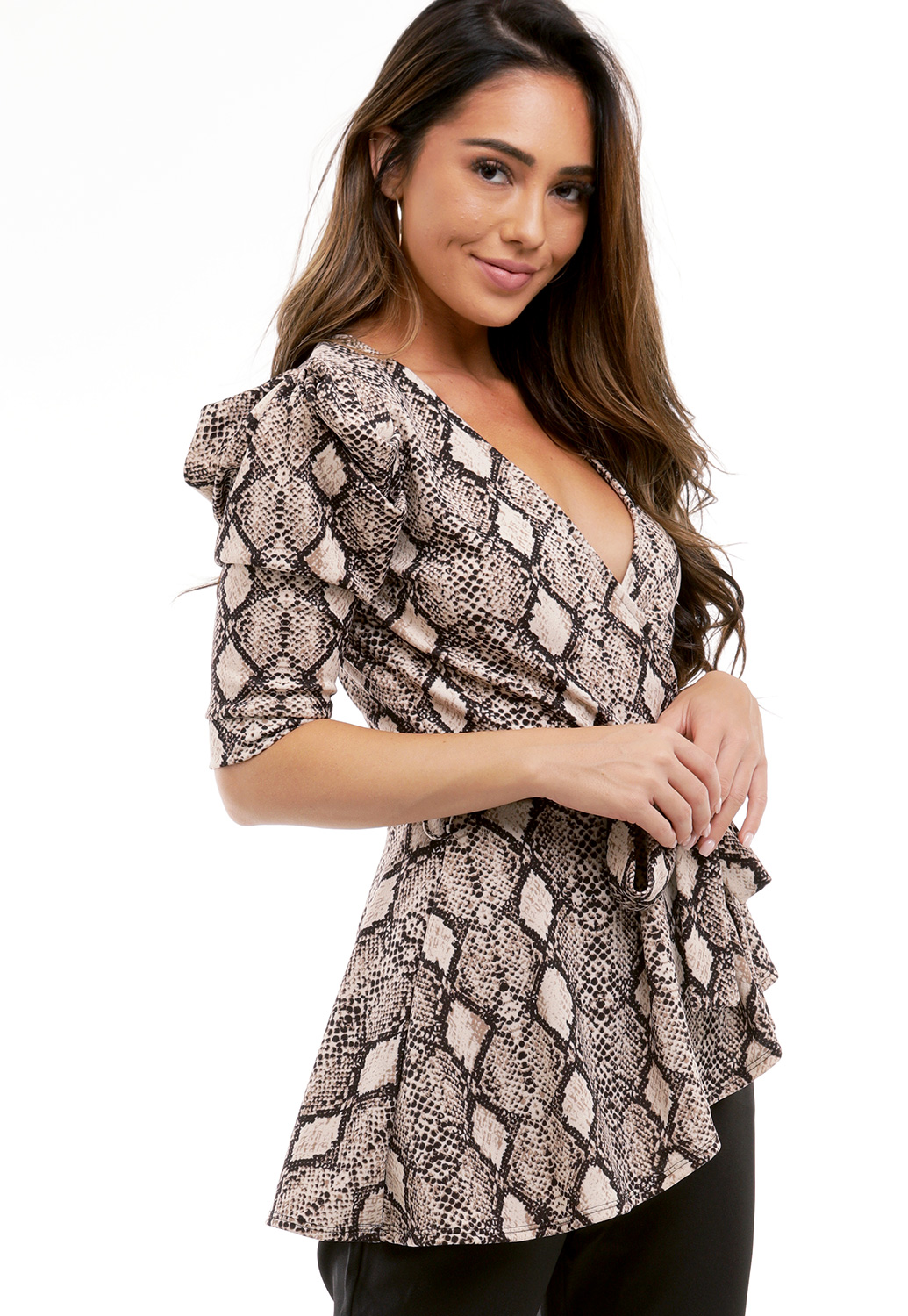 Snake Print Asymmetrical Top
