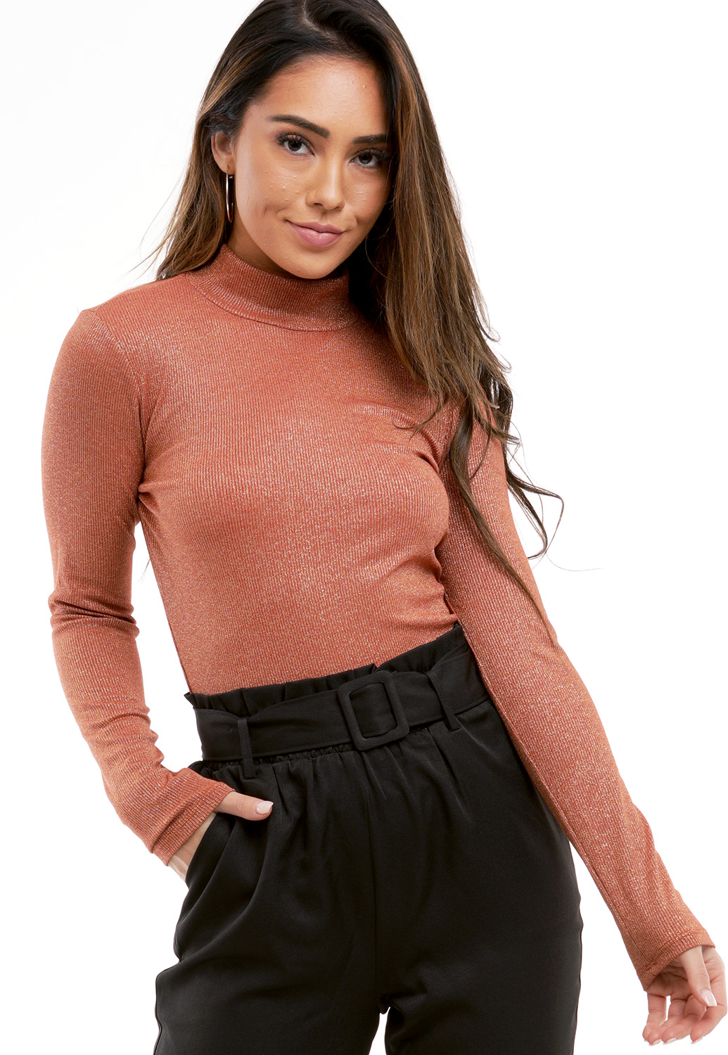 Metallic Turtleneck Top