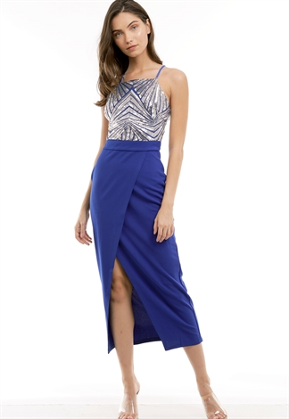 Front Slit Sequin Embellished Maxi Dress