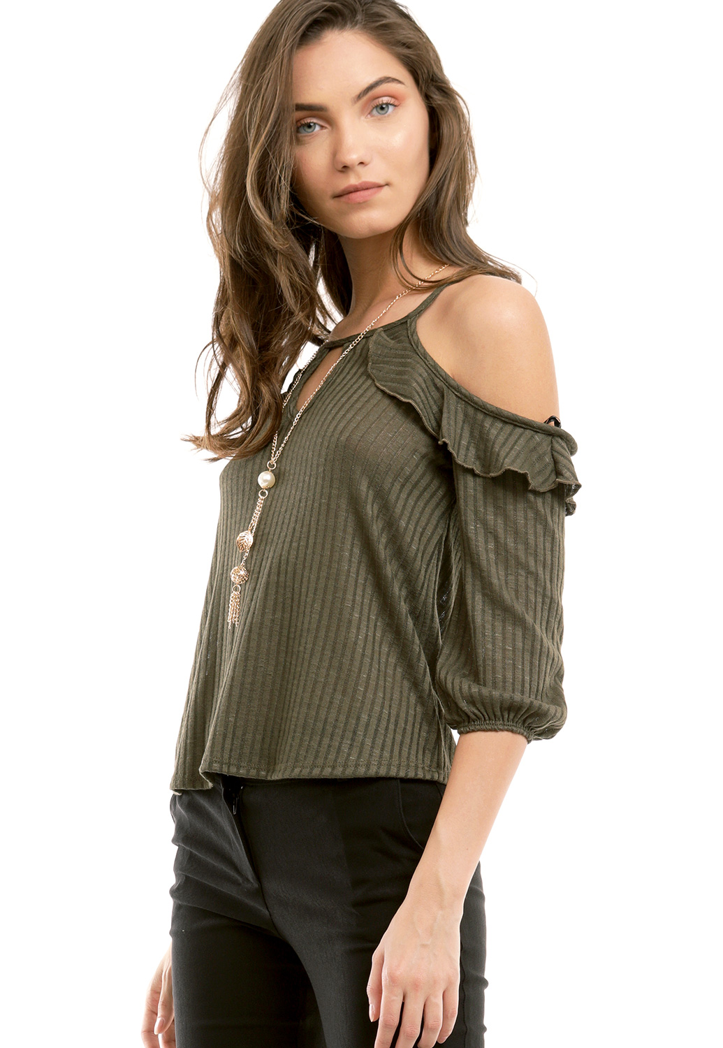 Open Shoulder Dressy Top W/ Necklace