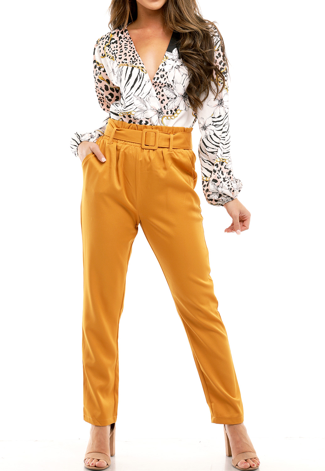 Belted Detail Dressy Pants