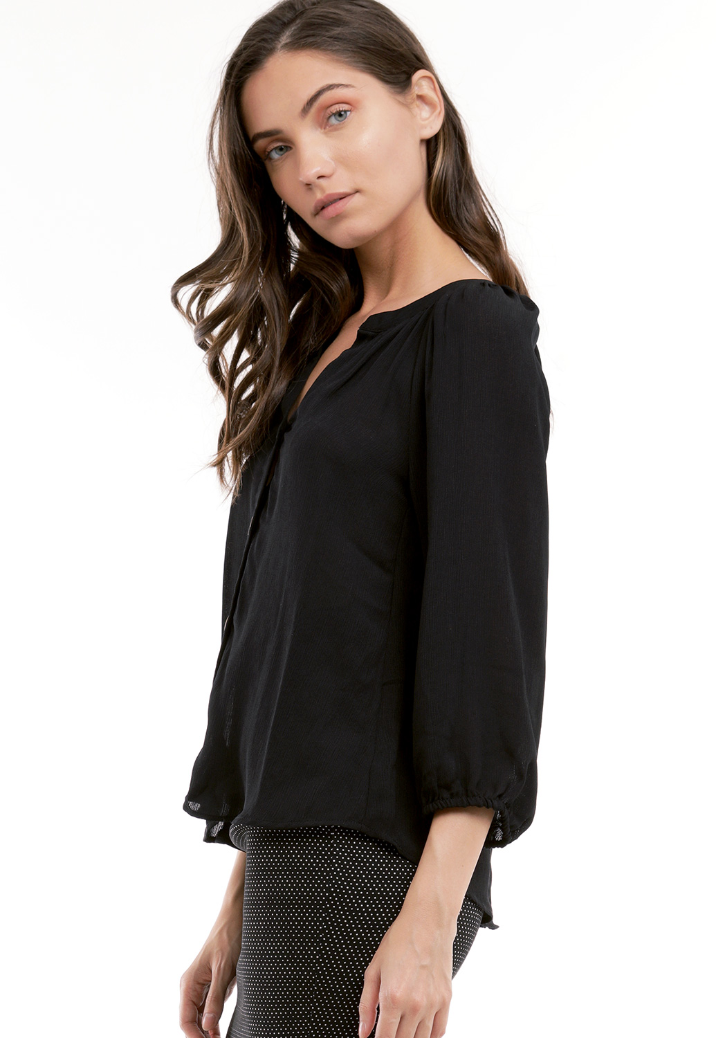 Button Up V-Neck Top