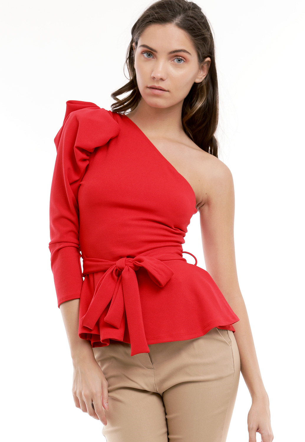 One Shoulder Flare Hem Dressy Top