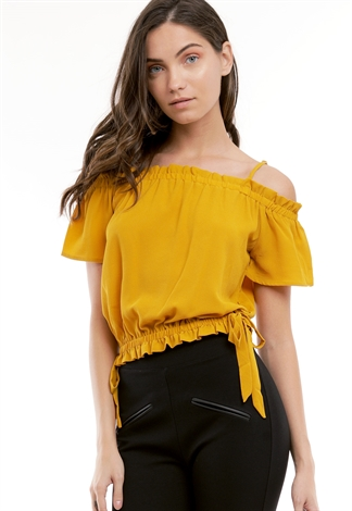 Open Shoulder Ruffle Detail Top
