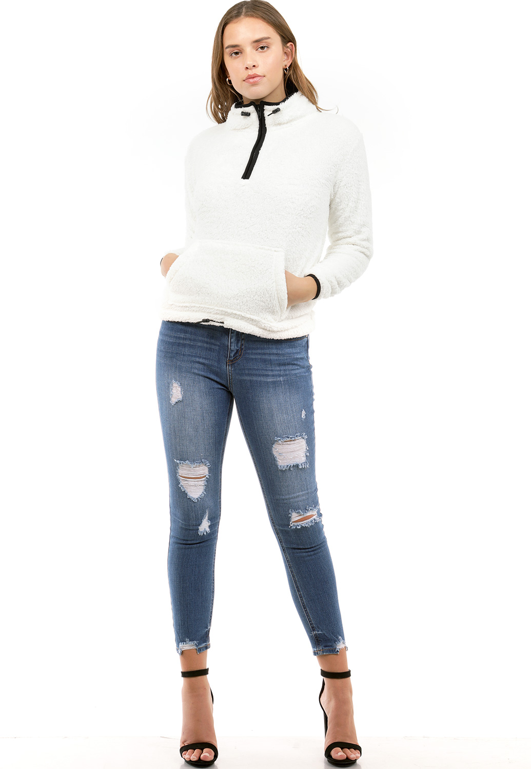 Faux Shearling Half Zip Up Sweater