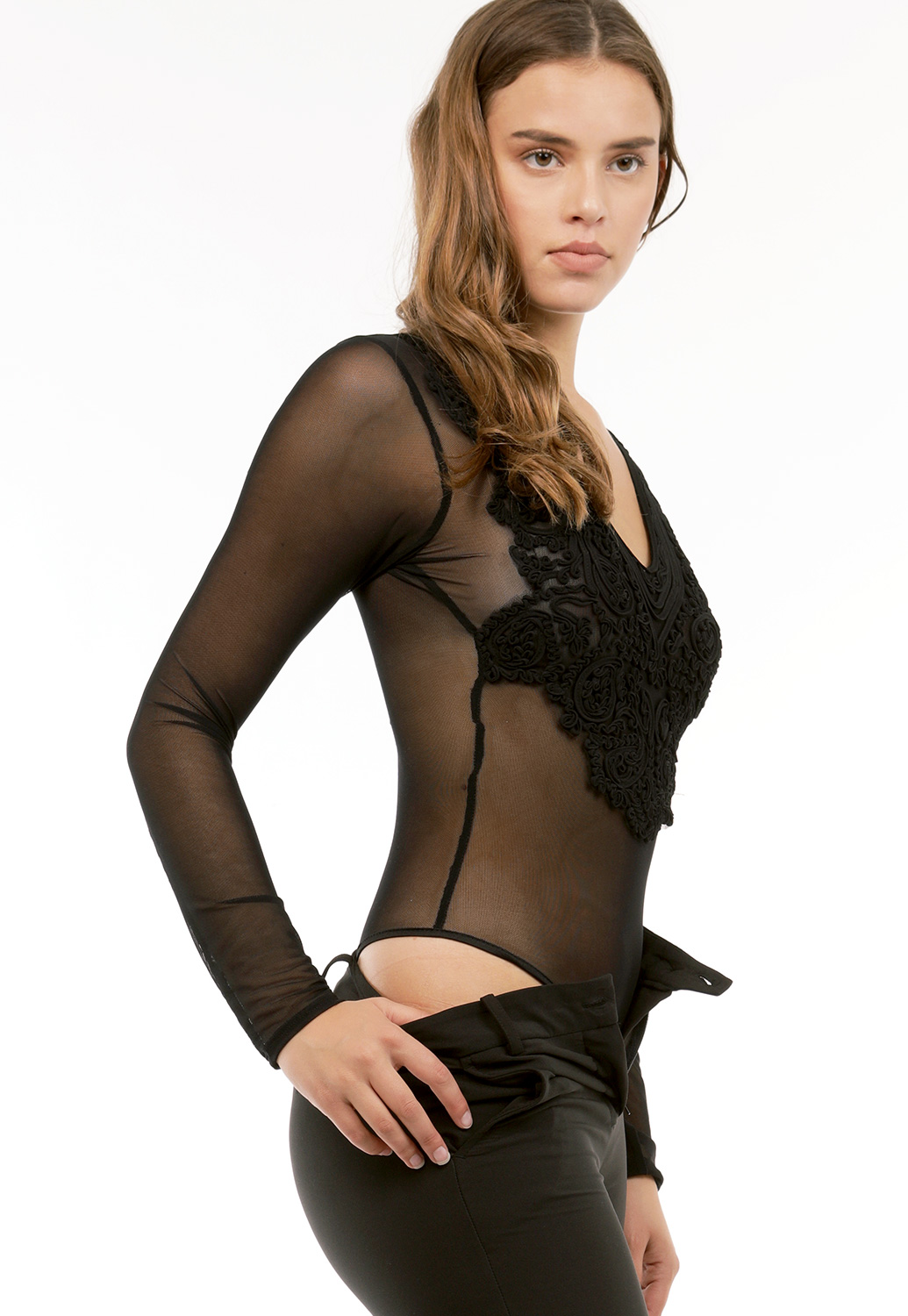 V-Neck Sheer Mesh Bodysuit