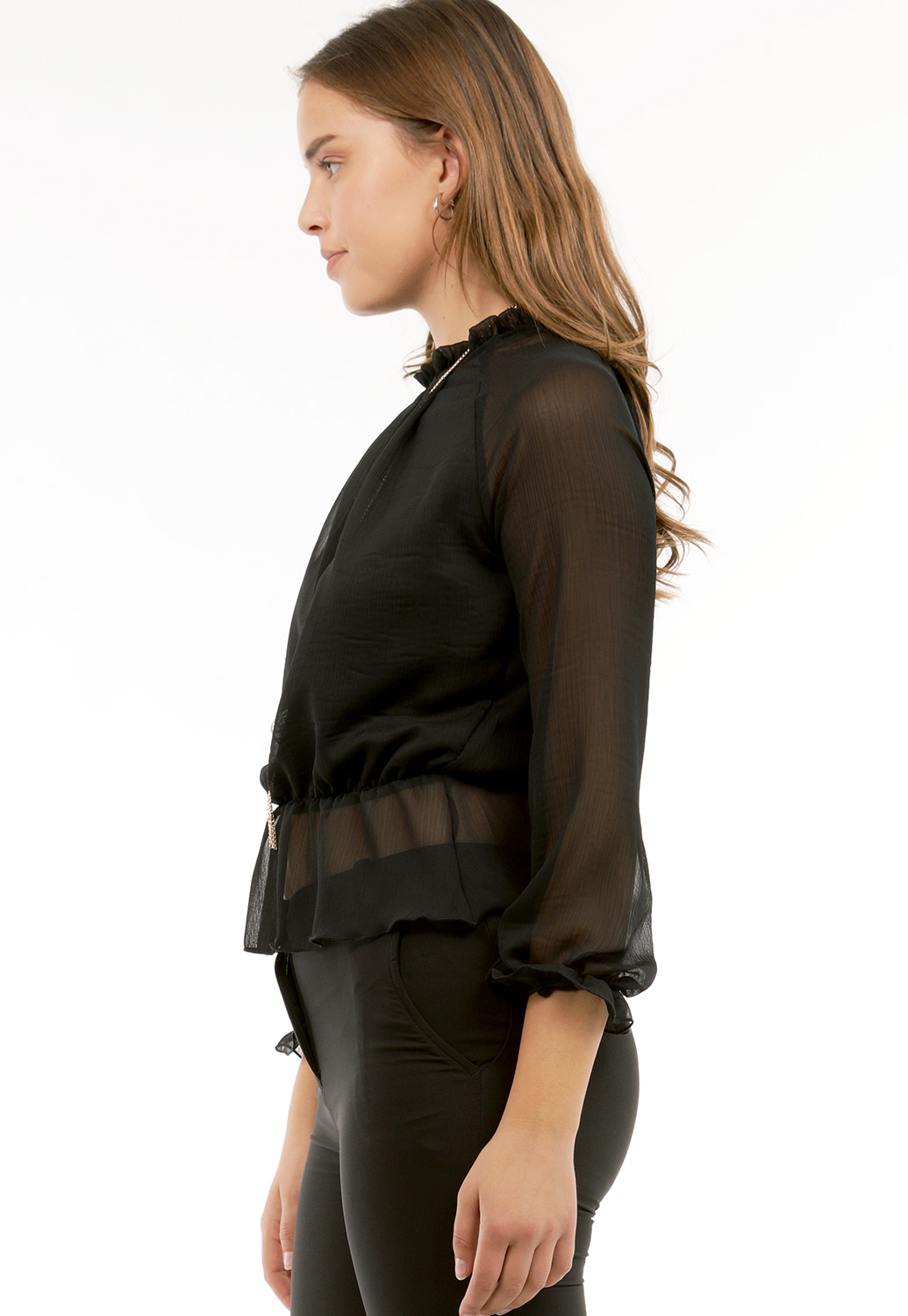 Sheer Dressy Top W/Necklace