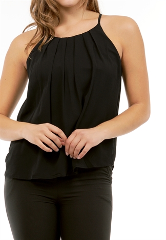 Pleated Back Keyhole Dressy Top