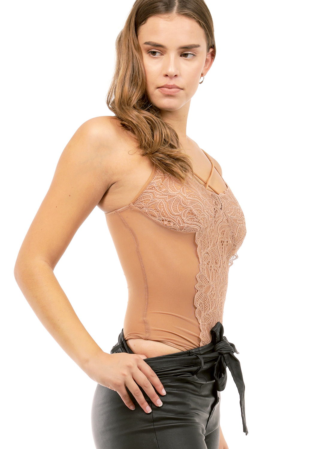 Sheer Mesh Lace Trim Bodysuit
