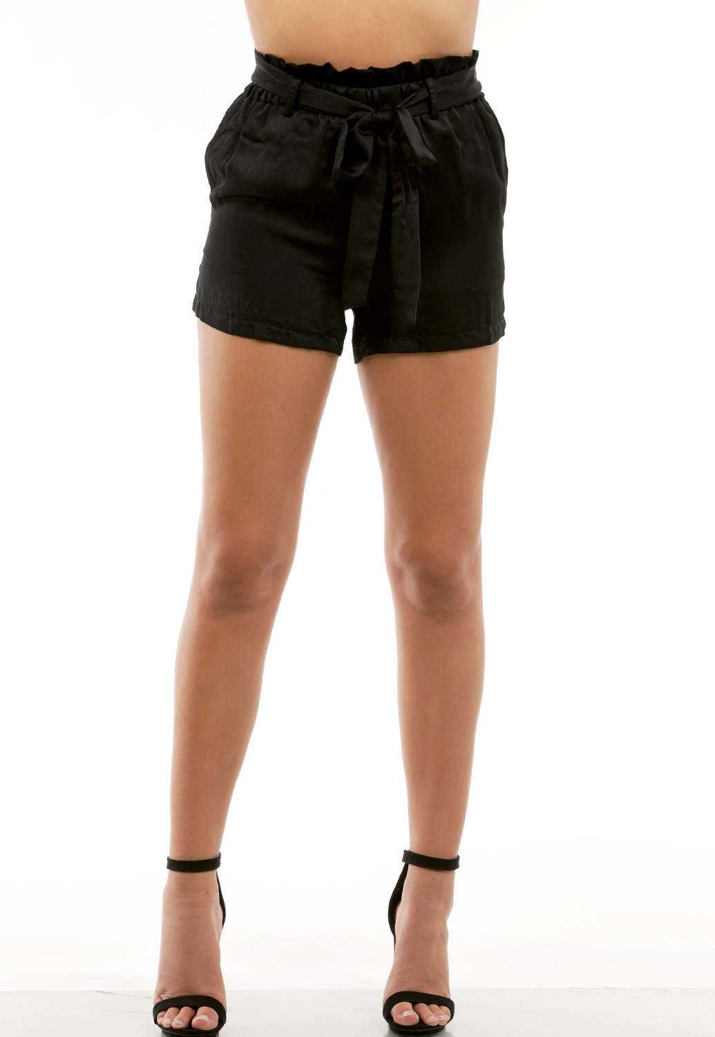 Satin Tie Front Shorts