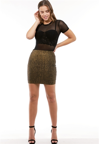 Metallic Bodycon Skirt