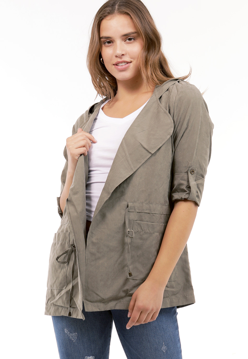 Faux Suede Tie-Waist Hooded Jacket