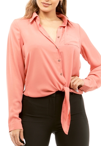 Tie Front Button Up Dressy Top