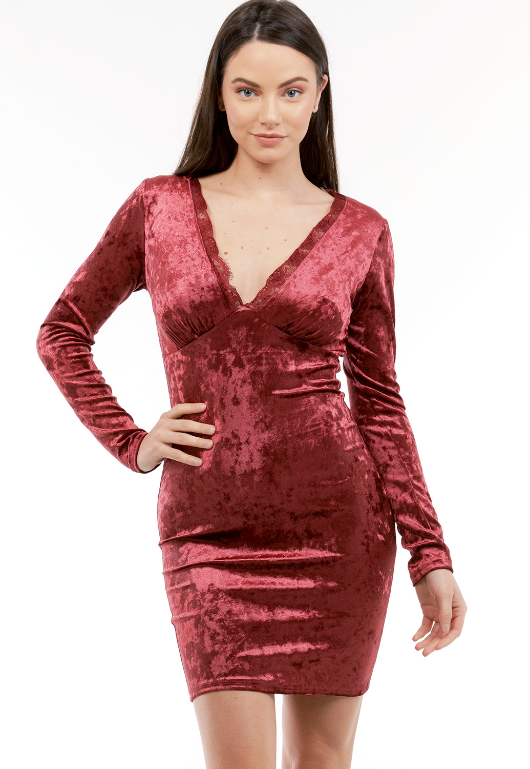 Lace Detail Velvet Dress