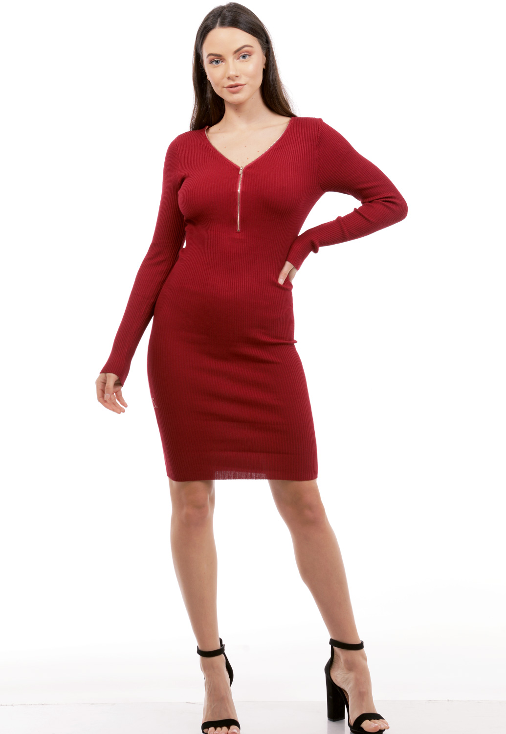 Zip Up Detail Knit Bodycon Dress