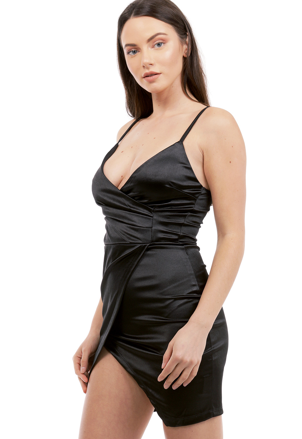 Satin Asymmetrical Mini Dress