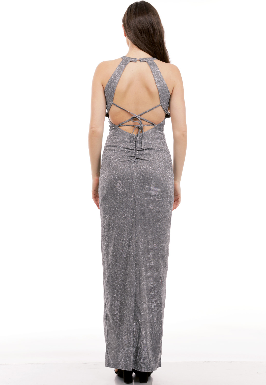 Metallic Slit Detail Maxi Dress