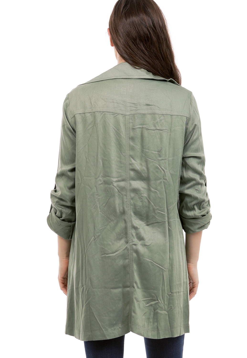 Open Front Button Detail Jacket