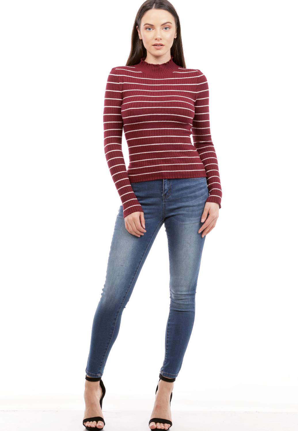Striped Knit Long Sleeve Top