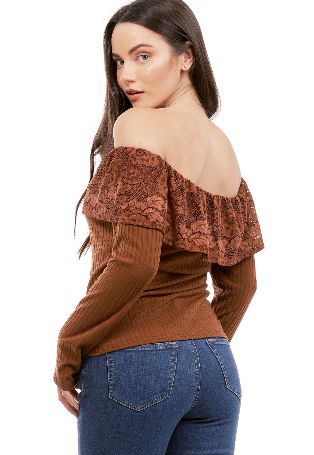 Off The Shoulder Lace Trim Top