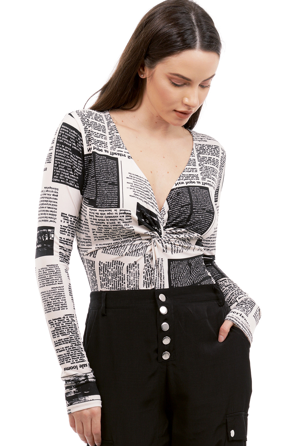 Newspaper Print Bodysuit