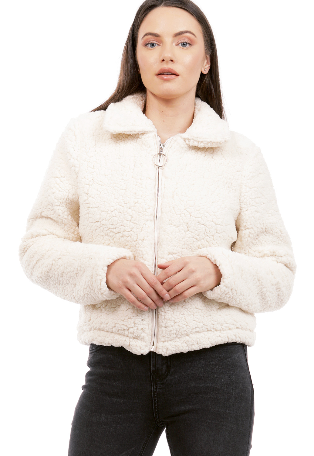 Zip Up Faux Fur Jacket