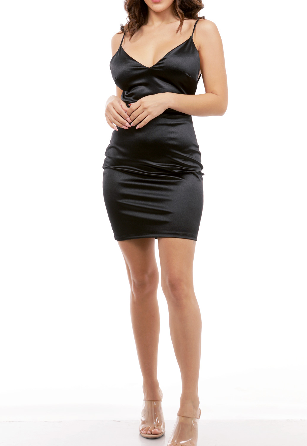 V-Neck Satin Mini Dress