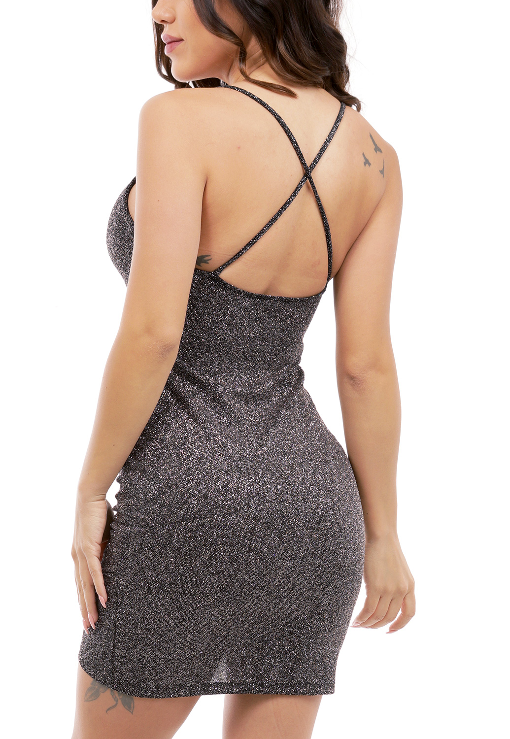 Metallic Cross Back Mini Dress