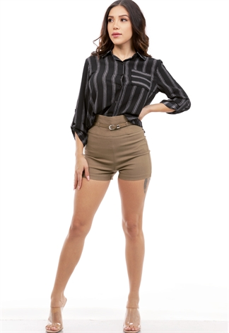 Belted High Waisted Dressy Shorts
