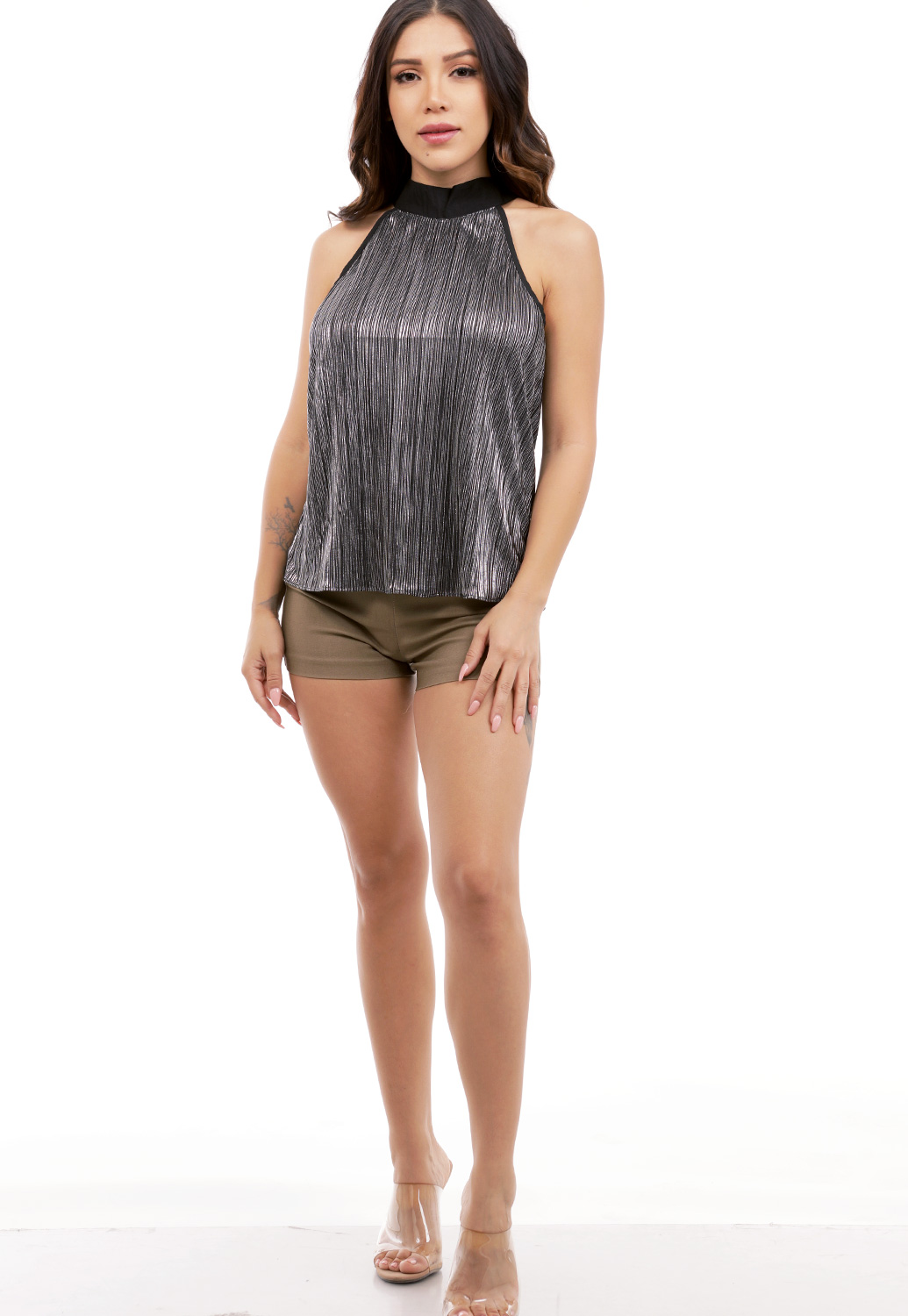 Metallic Halter Neck Top
