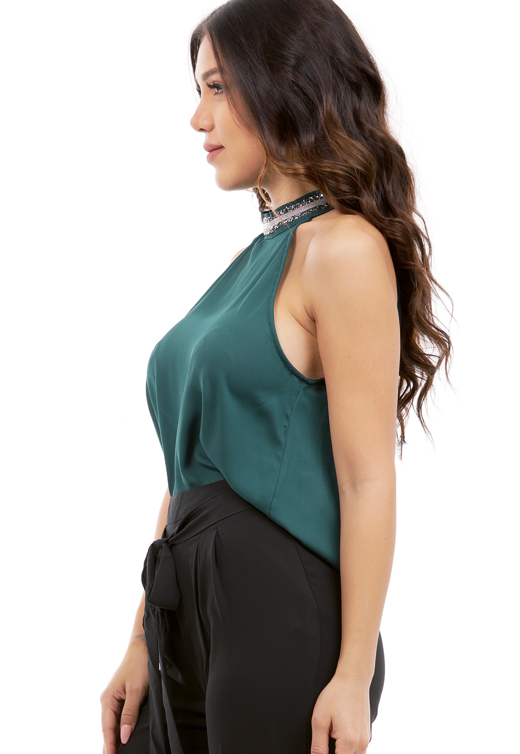 Rhinestone Halter Neck Detail Top