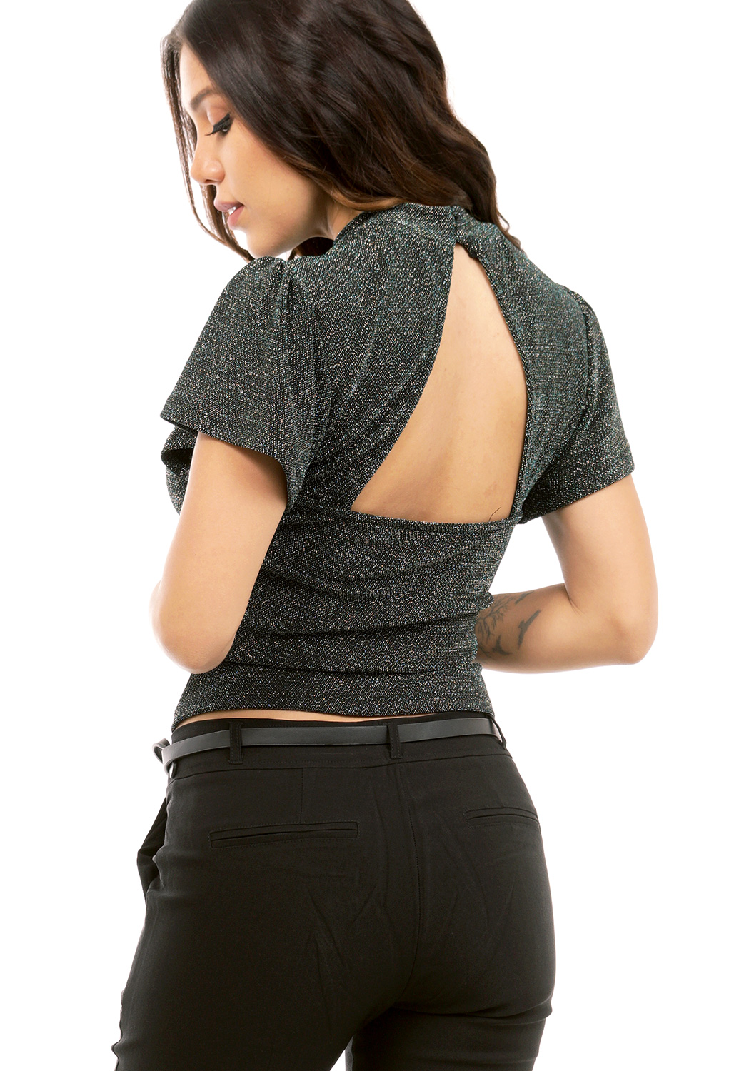 Metallic Back Cut Out Top