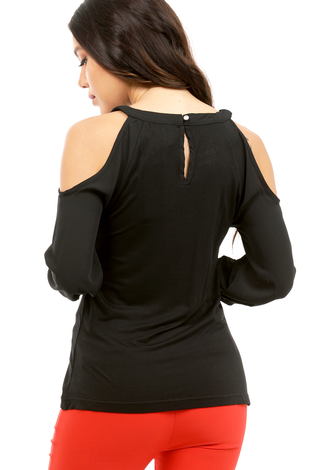 Open Shoulder Rhinestone Embellished Top