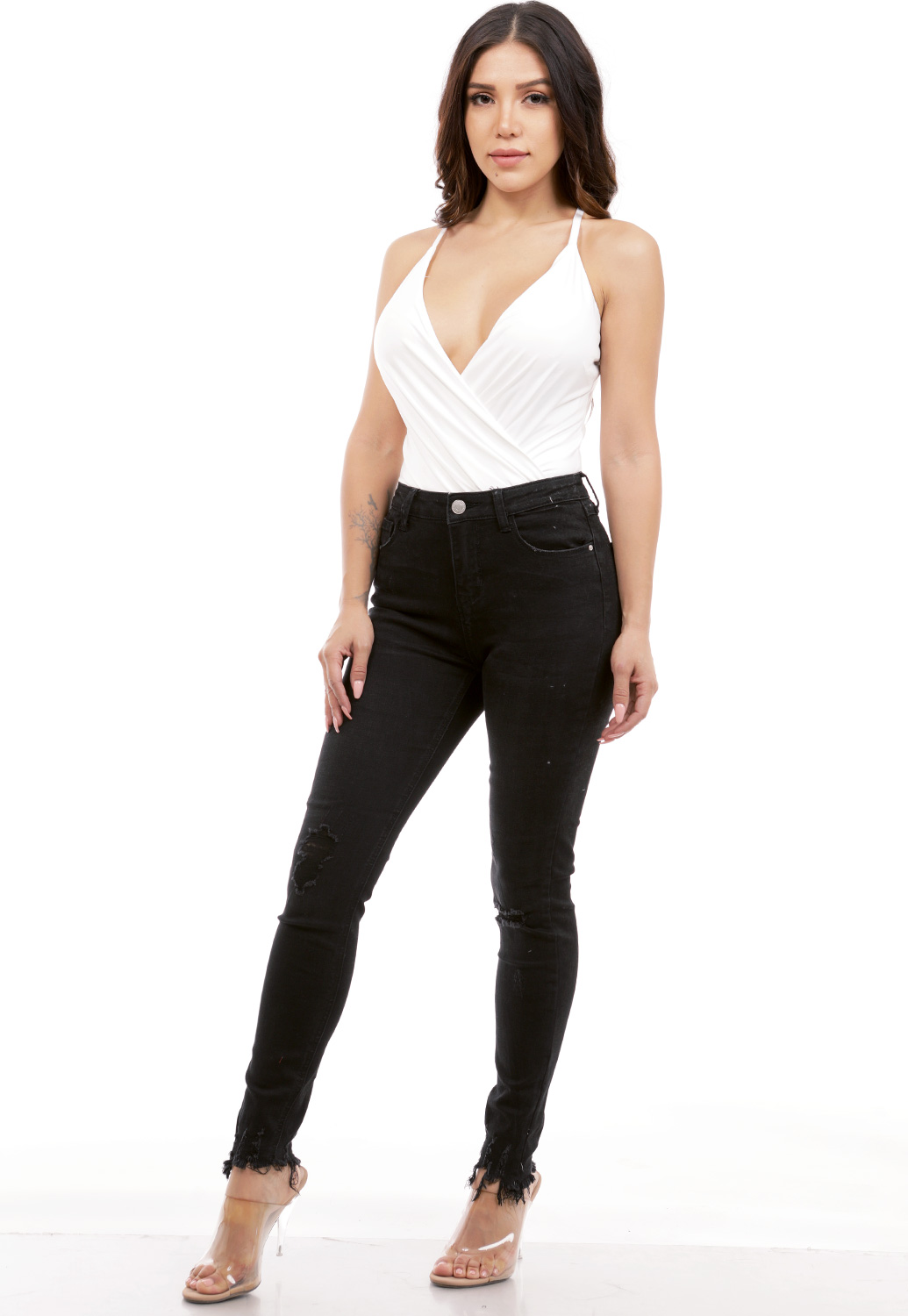 Surplice Satin Bodysuit
