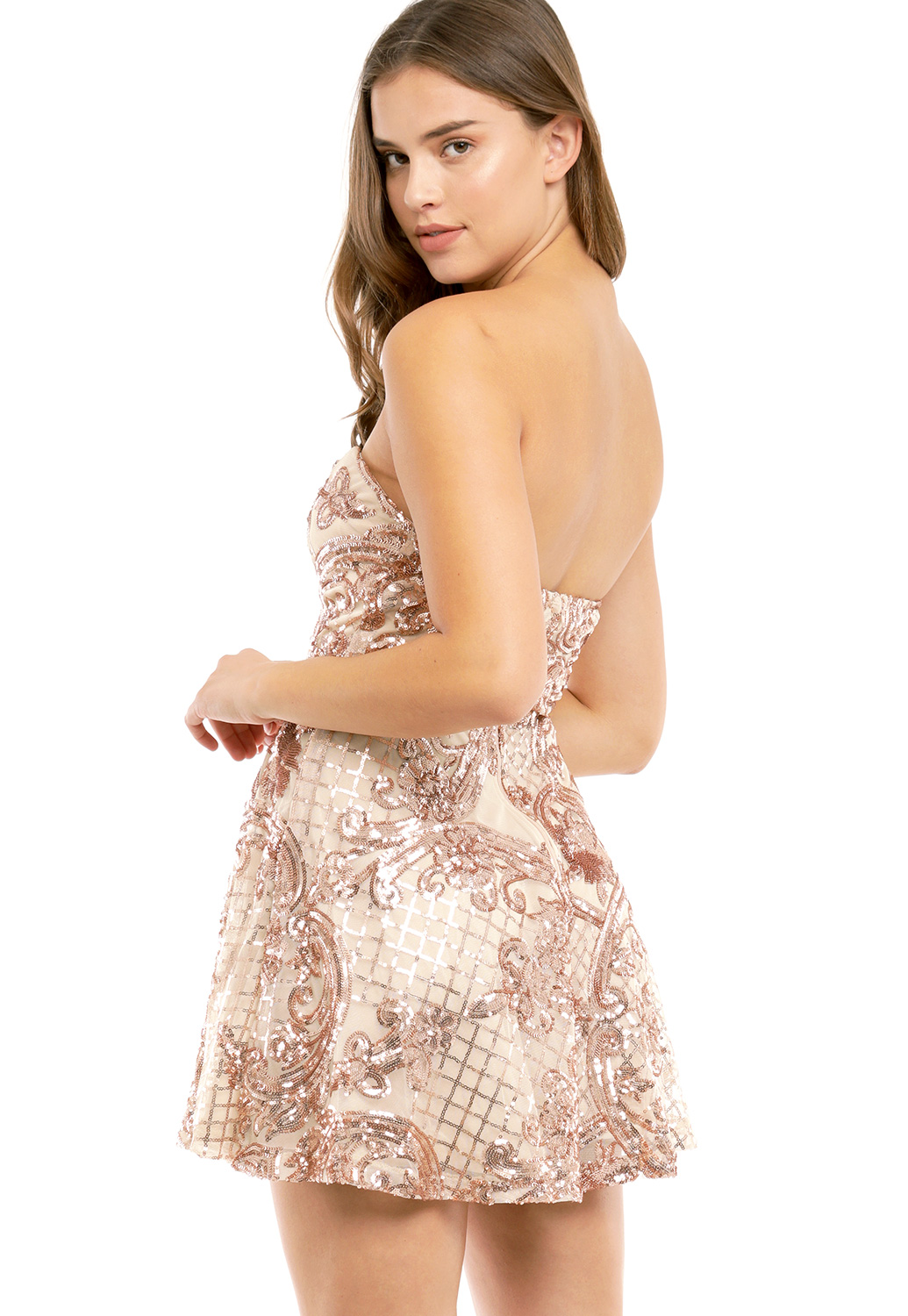 Strapless Sequin Embellished Mini Dress