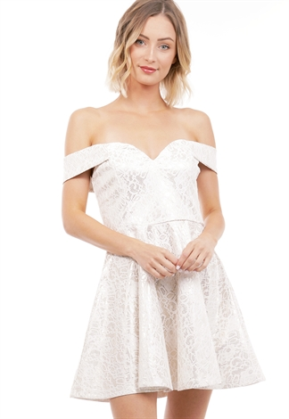 Off The Shoulder Lace Flare Dress