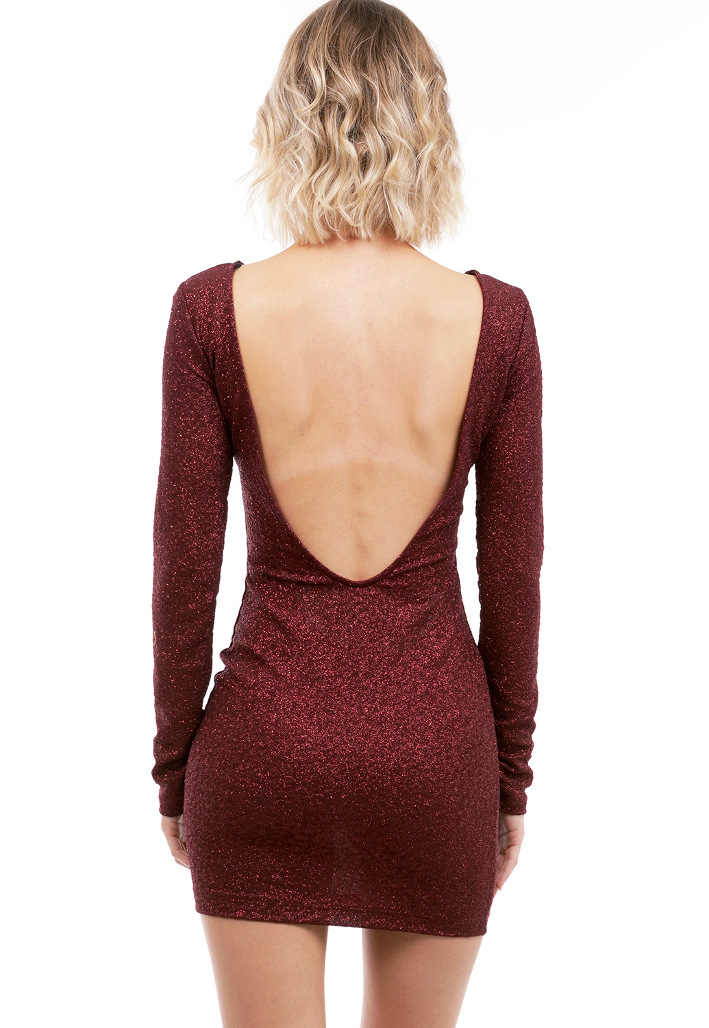 Metallic Back Open Mini Dress