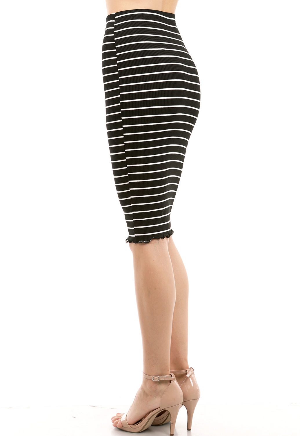Striped Lettuce Edge Pencil Skirt