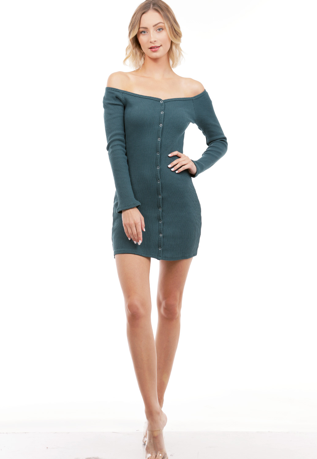 Ribbed Long Sleeve Mini Dress