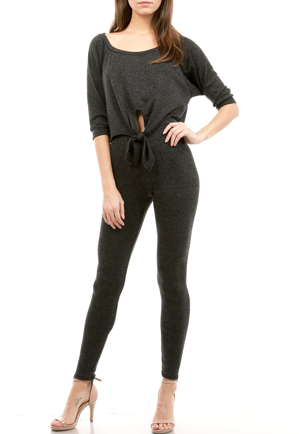 Tie Front Knit Top W/Bottoms Set