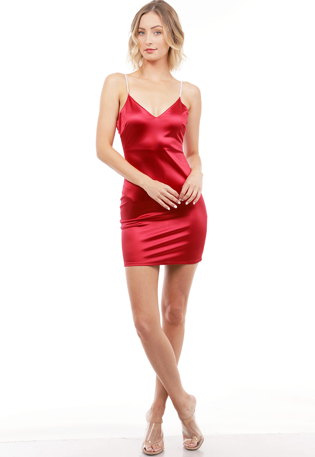 Rhinestone Straps Satin Mini Dress